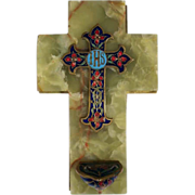 Superb Holy Water Font Enamel Cross ca. 1880