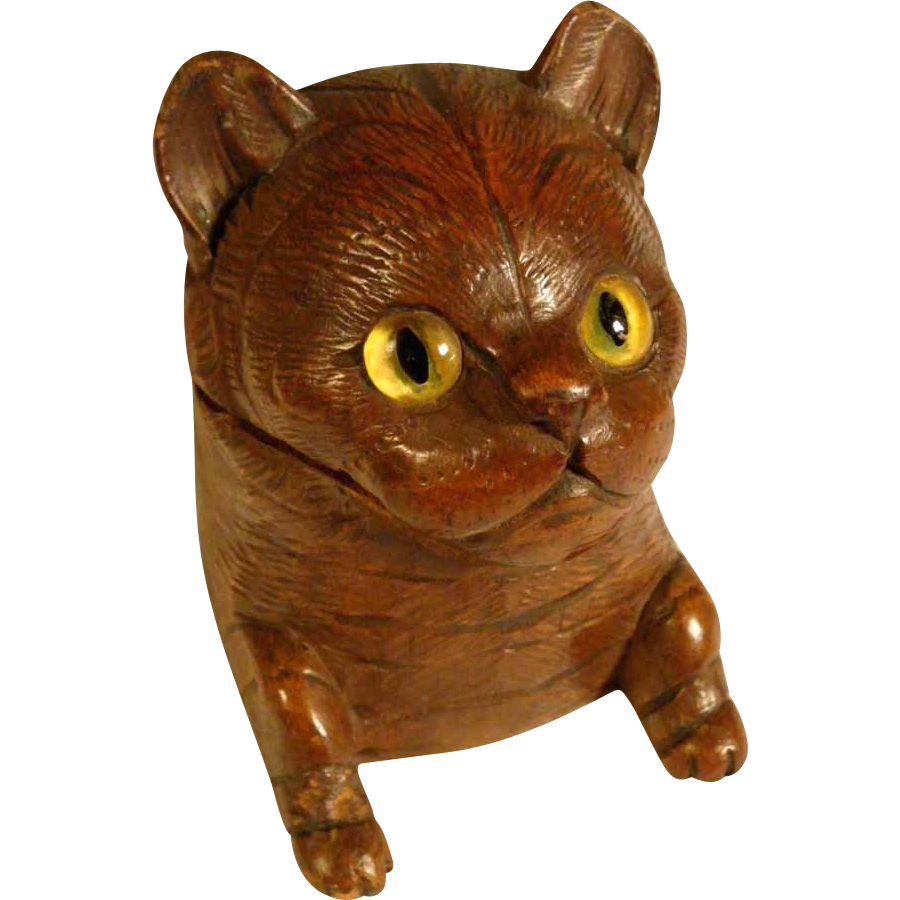 Inkwell Cat Glass Eyes Miniature Black Forest ca. 1900
