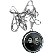 Picture Pendant with Chain Silver ca. 1920