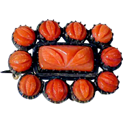 Early Victorian Brooch/Pendant Carved Corals