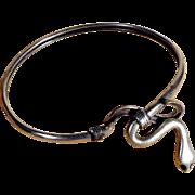 SALE Silver Bangle Bracelet Snake Art Deco Era