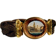 Early Victorian Micro Mosaic & Woven Hair Bracelet  18K Gold Mount
