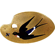 Lovely Brass Brooch with Enameled Swallow ca. 1900