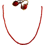 Coral Necklace and Delightful Earrings 14K Gold ca. 1920