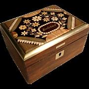 SALE 19C Wooden Jewelry Casket Karlsbad Hardstone Mosaic Lid