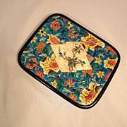 Unusual French Faience Plate Longwy  English Holly Motif