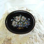 SALE Edwardian Era Micro Mosaic Brooch Forgot-me-Not