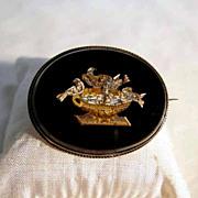 SALE Micro Mosaic Brooch Pliny Doves Onyx Plaque ca. 1860