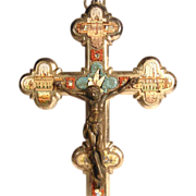 SOLD Micro Mosaic Cross Crucifix Four Roman Views and Dove ca. 1880