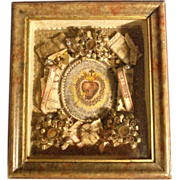SOLD The Sacred Heart of Jesus Relics German Monastery Work ca. 1900