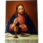 Jesus Blessing Bread and Wine Dated 1864