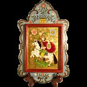 SOLD German Folk Art Religious Eglomise Painting ca. 1900 Saint George