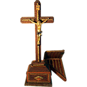 SALE Rare Tramp Art Crucifix  with Wall Shelf Folk Art ca. 1900