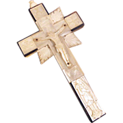 SOLD 19C Hand Carved and Engraved Reliquary Mother of Pearl Cross Crucifix