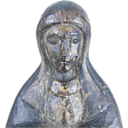 SOLD Hand Carved Folk Art Black Virgin Spain about 1800