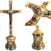 SALE Crucifix Micro Mosaic Arma Christi and Dove Grand Tour Souvenir ca. 1880