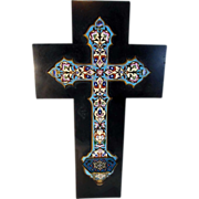 """SOLD Exceptional Holy Water Font Enamel Work Dated 1883 ca. 15""""Large!"""