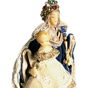 SALE Monastery Work Virgin with Child Wax Sculpture Cerostata
