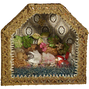 SOLD 19th Century Votive Reliquary Wax Baby Jesus Shadow Box