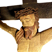 German Folk Art Crucifix Hand Carving ca. 1800