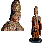 17th Century Hand Carving Santo Pope Lime Tree
