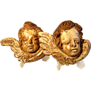 SALE 19C German Folk Art Hand Carved Cherub Putty Heads
