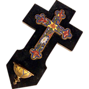 SOLD 19th Century French Holy Water Font Enamel Cross