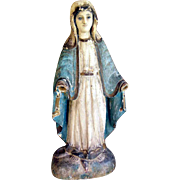 SALE 19th Century German Folk Art Hand Carved Virgin of Mercy
