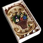 "SOLD Monastery Work ""Wachsstock"" Flowers in a Basket ca. 1920"