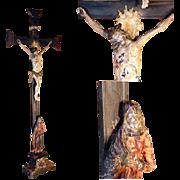 SOLD Superb Late Baroque Crucifix Jesus Mater Dolorosa German Folk Art