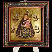 SOLD Virgin Mary  Holding Baby Jesus  Picture German Folk Art