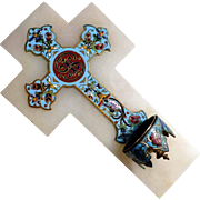 19C French Holy Water and  Cross Enamel on Marble