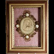 Hand Crafted Monastery Work Virgin Wax Medallion Shadow Box