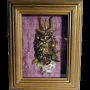 Hand Crafted Nun Work Altar Bouquet Shadow Box