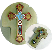 Superb and Unusual Holy Water Font Enamel Work Medals ca. 1870