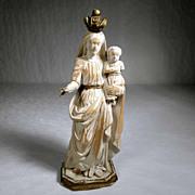 SOLD Virgin Mary holding Jesus German Folk Art Carving ca. 1900