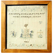 The King and his Jester Rare Sampler dated 1831