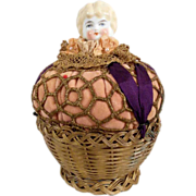 Adorable Pin Cushion Hand Painted Chubby-faced Doll Head