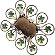 SOLD Amazing Little Pin Cushion Four-leaf-clover and Edelweiss