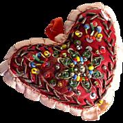 Lovely Heart Shape Pin Cushion Bead Work