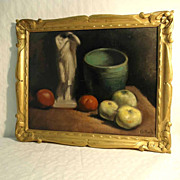 SOLD Still Life with Apples and Statue Listed Belgian Artist