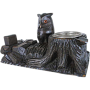 Decorative  Smoker Set Pipe Holder Owl Hand Carving Black Forest ca. 1920