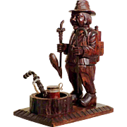 Hand Carved Pipe and  Pipe Holder Unusual Shape Old Man Black Forest