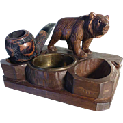 SOLD Amazing Hand Carved Pipe Holder Bear  and Pipe Black Forest ca. 1900
