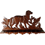 SALE PENDING Beautiful Old Pipe Holder for 9 Pipes Hand Carving Chase Dog