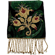 Embroidery Fragment on Velvet  Beadwork Flowers   Late 19th Century