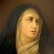 SALE Excellent Religious Painting  Mater Dolorosa Virgin 19th Century