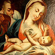SALE Late Baroque Painting Nursing Madonna Jesus Baby  about 1750