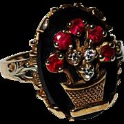 SALE Diamond Ruby Onyx Gold Ring Basket-of-Flowers Motif Vintage Fine