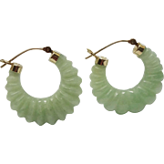 SALE 14K Yellow Gold Jadeite Jade Shrimp Hoop Earrings Fine